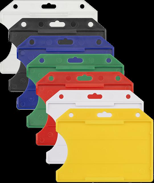 6d0fe6eae0d Harde open horizontale badgehouder in de verschillende mogelijke kleur  uitvoeringen, geel, wit, rood