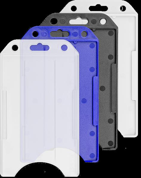 d77d715b33c Harde open verticale badgehouder in 4 verschillende kleuren, transparant,  blauw, zwart en wit